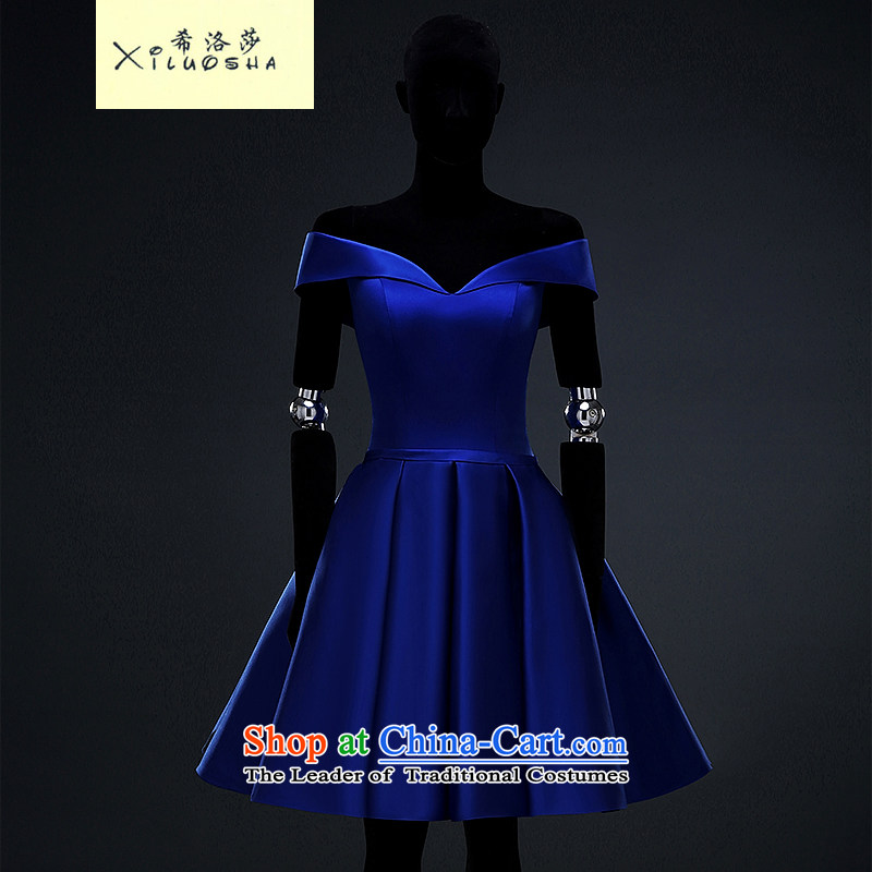 Hillo Lisa (XILUOSHA) Bride dress satin dress in the summer of 2015, New royal blue banquet service marriage dress followed a shoulder Blue�M field
