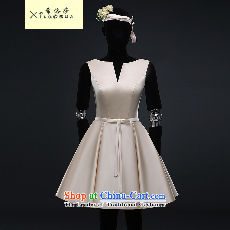 Hillo Lisa _XILUOSHA_ Bride satin dress uniform summer short bows of marriage, champagne color small dress female new 2015 banquet dinner dress champagne color聽XL