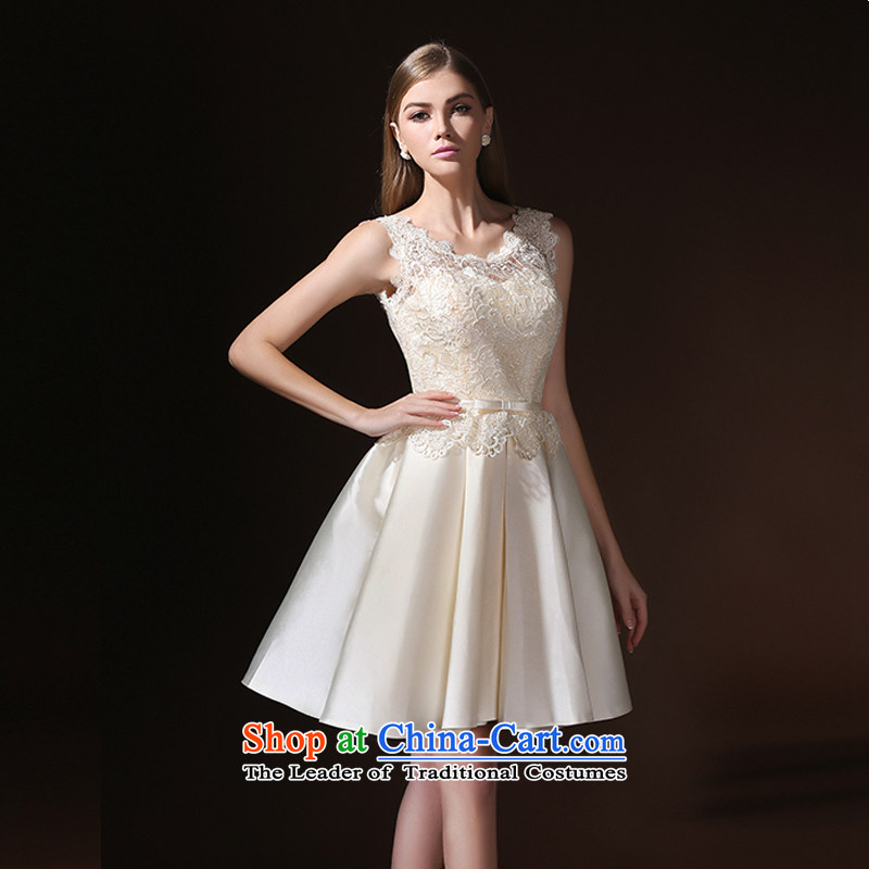 According to Lin Sha bride bows services evening dresses 2015 new summer short stylish wedding dress betrothal bridesmaid to skirt wedding champagne color聽S