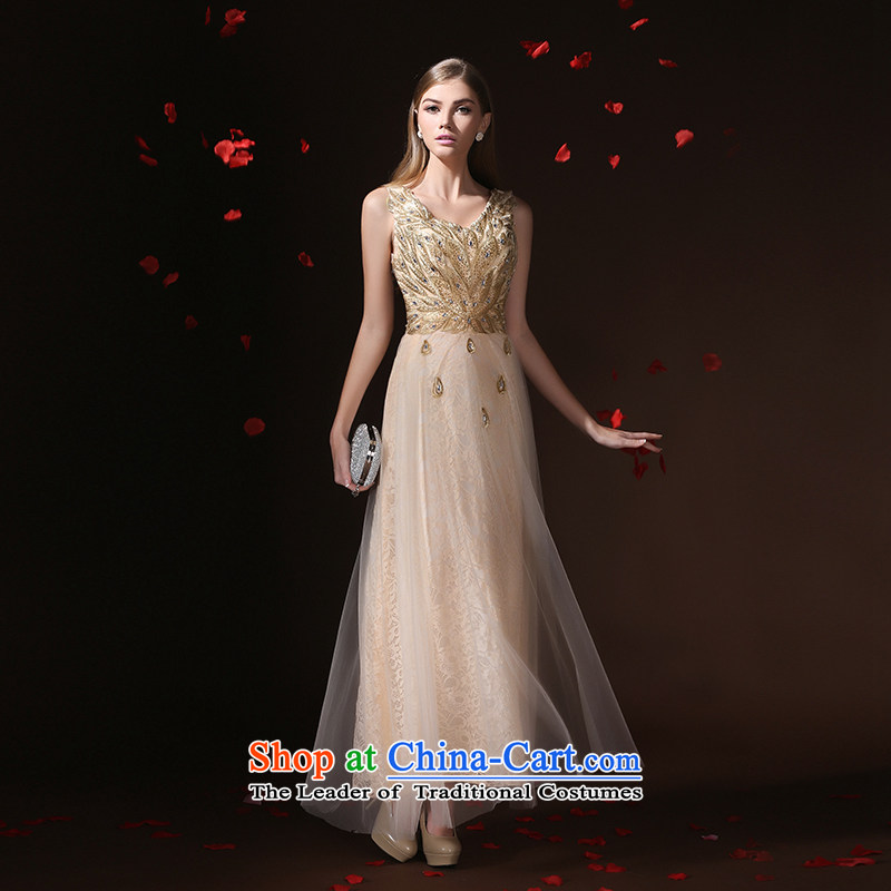 According to Lin Sha bridal dresses and stylish bridesmaid serving evening dresses champagne color Korean small dining dress spring long 2015 new champagne color?XL