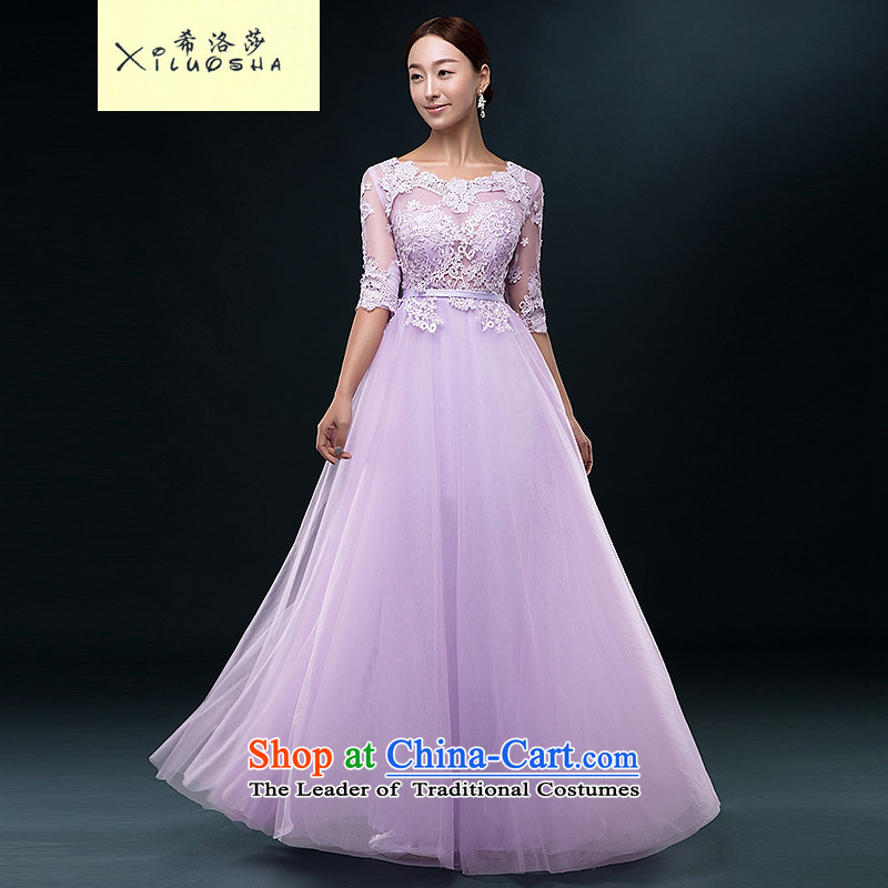 Hillo Lisa (XILUOSHA) Bride dress long lace in cuff marriage bows service banquet dress stylish 2015 New Xia Xue cyanosis�L