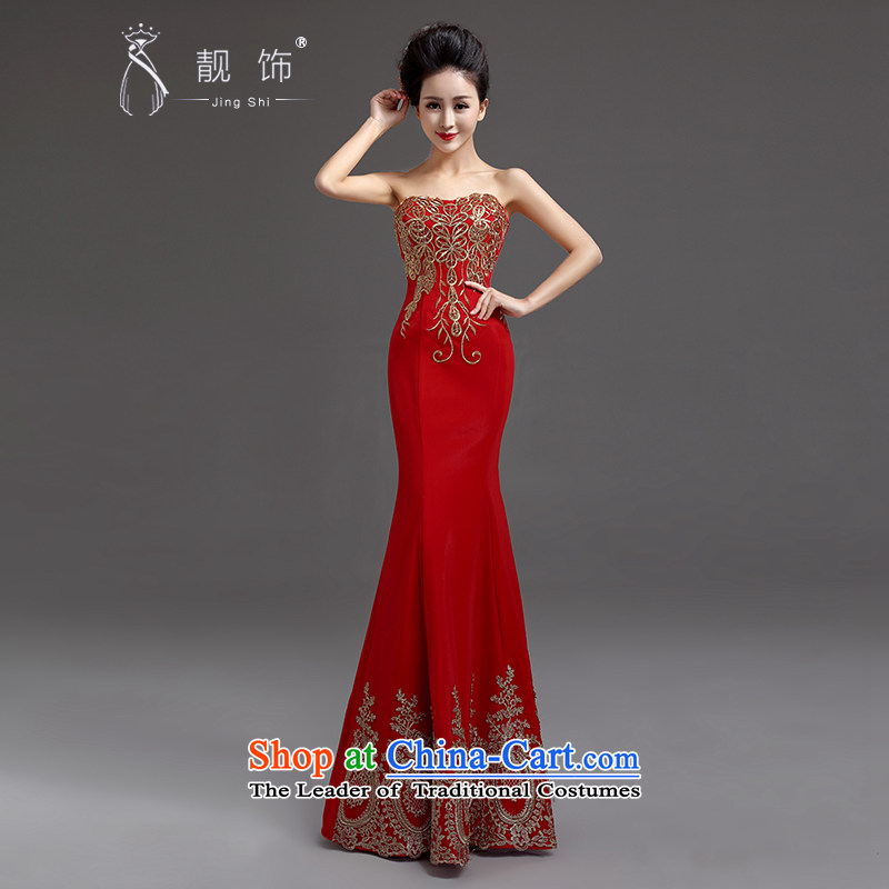 The new 2015 International Friendship bride bows Long Chest wiped services crowsfoot dress moderator will dress red�XXL