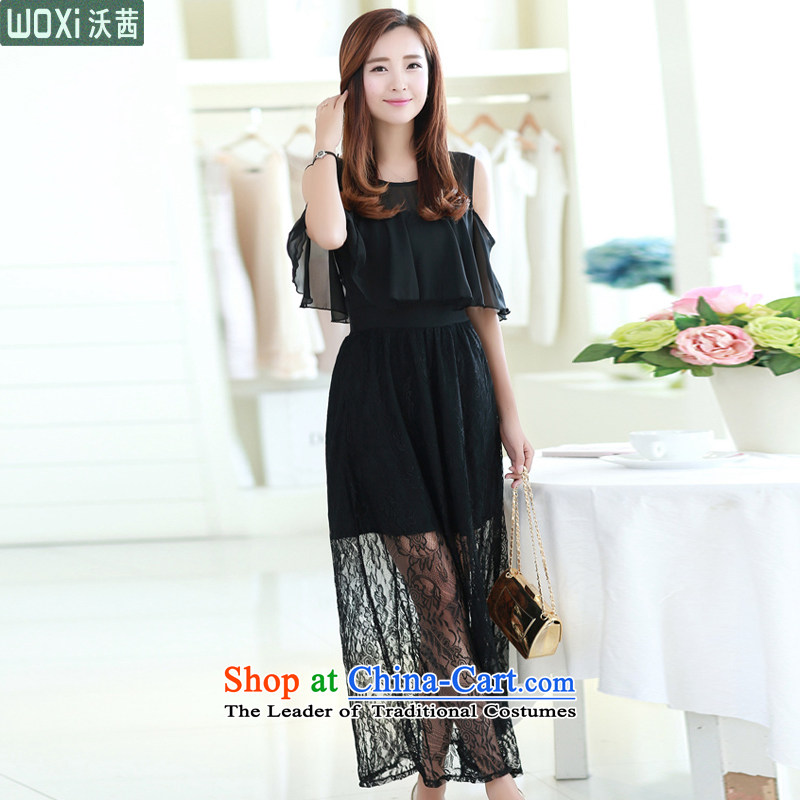 Mrs Ure�2015 Summer Kosovo temperament Sau San chiffon bare shoulders off the cuff lace long skirt dresses evening dresses women 7010 Black�S