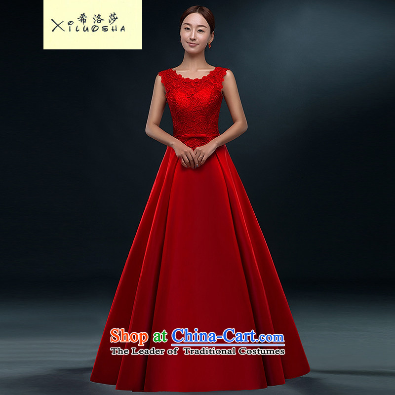 Hillo XILUOSHA Lisa (marriage) bows services long summer gown 2015 new bride lace bows dress female satin shoulders evening dresses red s
