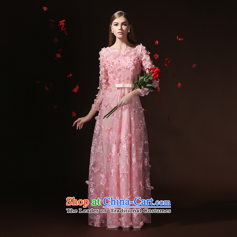 According to Lin Sha wedding dresses 2015 new long-sleeved stylish Korean marriages bows banquet long evening dress skirt pink tailored consulting customer service