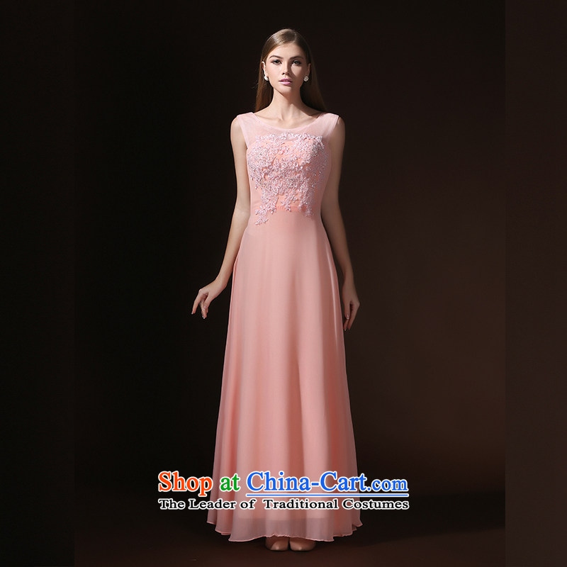 According to Lin Sha wedding dresses Korean word shoulder marriages bows banquet long evening dresses to align the new 2015 pink?XL