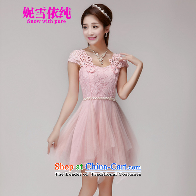In accordance with the pure聽2015 Connie snow summer hook wire manually set drill blossoms gemstone aristocratic princess elastic waist dresses dress bridesmaid dress 1015 pink聽L