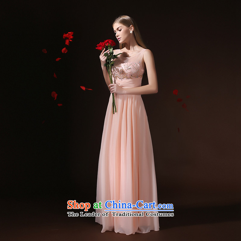 According to Lin Sha 2015 new dresses long summer, pink drink service bridal marriage long skirt evening dress banquet evening dresses pink?XL