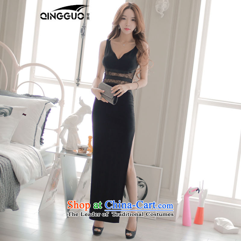 The West's summer new Korean female lace stitching V-neck and sexy dress jacket Sau San long skirt black�L