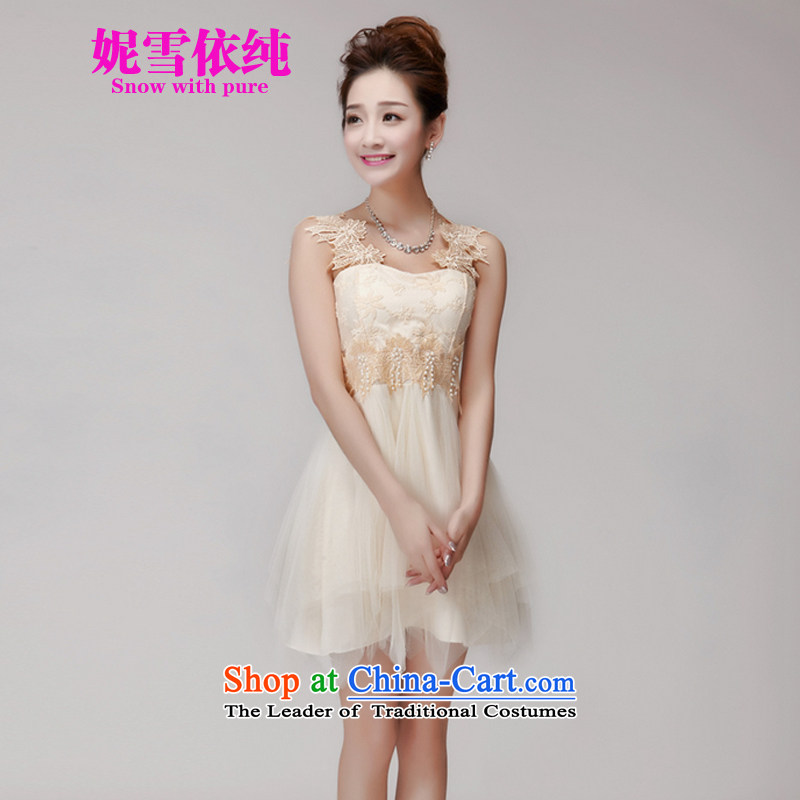 In accordance with the pure?2015 Connie snow summer hook wire manually set drill blossoms gemstone aristocratic princess foutune bon bon apron skirt bridesmaid dress sister replacing 986 apricot?M