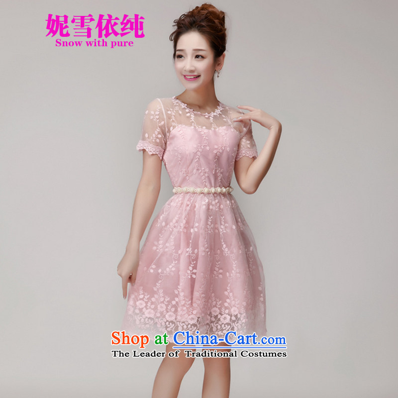 In accordance with the pure 2015 Connie snow summer new Korean sweet lace dresses and sexy beauty dresses bridesmaid small dress evening dresses 1000 pink�M