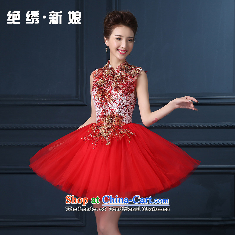 The bride services 2015 Summer bows new Korean shoulders large graphics thin red banquet hosted will dress RED M Suzhou Shipment