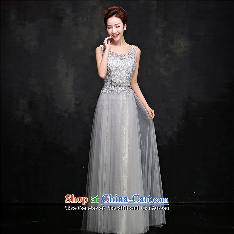 The first white into about?2015 new summer gray dress banquet long shoulders lace bride bows services moderator dress girls gray?XL