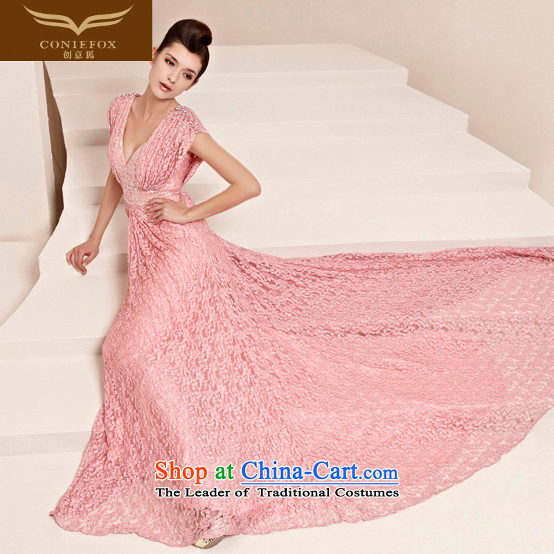 Creative Fox evening dresses�2015 NEW V Video thin evening dresses pink bride wedding dress banquet bows dress bridesmaid dress 30123 color picture�L