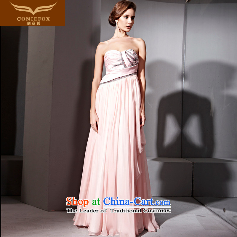 Creative Fox evening dresses pink dresses Top Loin wrapped chest ironing drill length of Sau San dress skirt banquet services under the auspices of the annual bows dress?81110?pink?L
