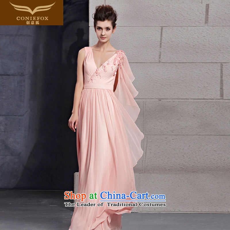 Creative Fox evening dresses pink V-Neck long bridesmaid dress sweet princess dress skirt embroidered marriages banquet bows dress 30026 picture color?XXL