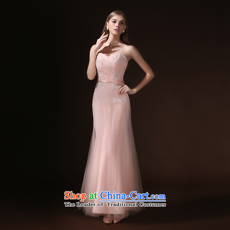 According to Lin Sha evening dresses 2015 new spring and summer and chest bride wedding services long gathering bows dinner will dress skirt female pink?M