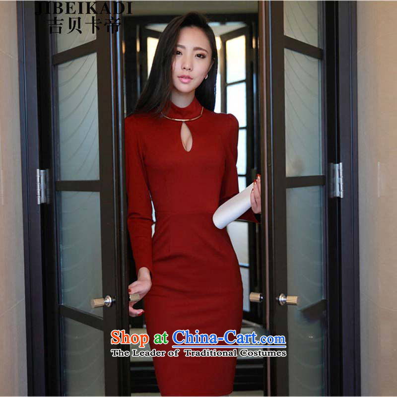 Gibez 175#2014 Dili autumn load card new Korean aristocratic elegant OL Sau San sexy package and also attached the skirt dress wine red?XL