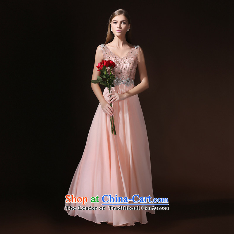 According to Lin Sha new shoulders V-Neck Korean long tail bride toasting champagne small banquet evening dress stylish Summer 2015 Spring pink L
