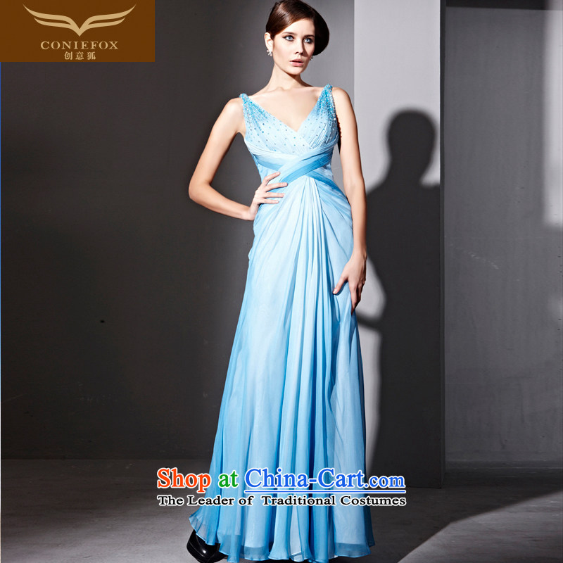Creative Fox evening dress blue shoulder straps waist dress coltish Graphics�V-Neck long banquet dresses Sau San annual meeting presided over 81069 will dress photo color�S
