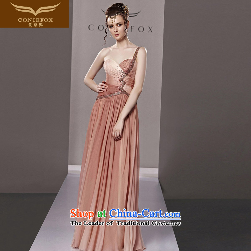 Creative Fox evening dresses 2015 single trendy new shoulder evening dresses Western wedding dress skirt long bridesmaid dresses Sau San long skirt 81223 picture color L