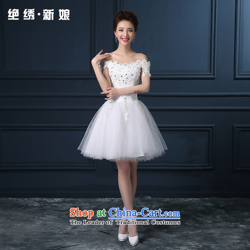 2015 Spring/Summer new Korean word shoulder larger video thin short, bridal banquet night bridesmaid to Sau San made small white dress does not allow