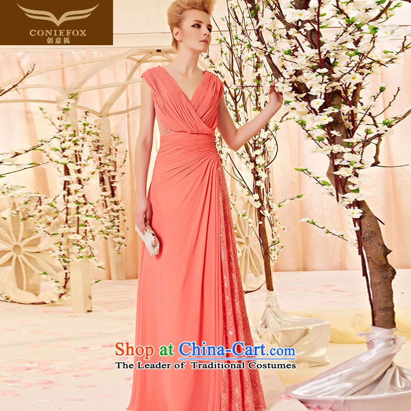 Creative Fox evening dresses�2015 new creases V-Neck evening dress lace on chip dress marriage bows dress long bridesmaid dress 30280 color picture�S