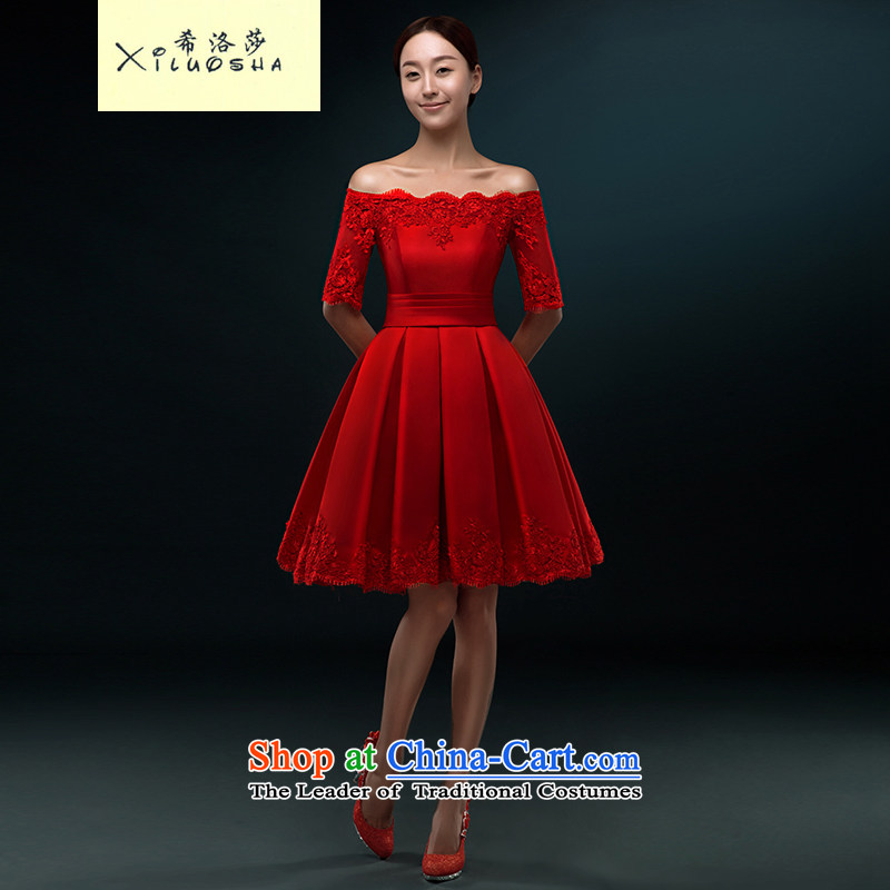 Hillo XILUOSHA_ Lisa _short_ bows Services Mr Ronald satin dress a field shoulder bride bon bon skirt small dress in marriage dress cuff lace chinese red聽L