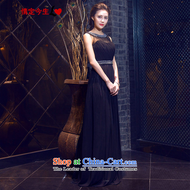 Love of the overcharged elegant parquet drill a new summer 2015 Field shoulder round-neck collar long black skirt banquet evening dresses wedding dress bows to black�S