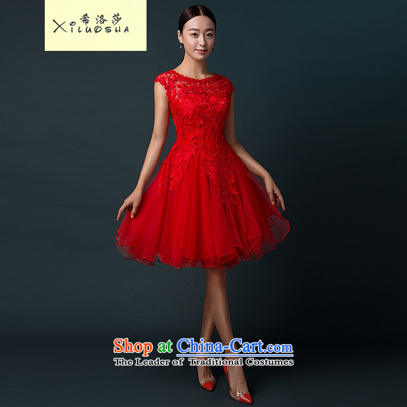 Hillo XILUOSHA) bridal dresses Lisa (short) Wedding Services Winter 2015 bows new marriage small red dress female lace evening dress skirt RED?M
