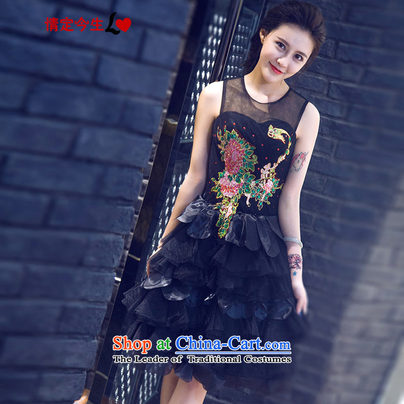 Love Of The Life of nostalgia for the summer 2015 new word shoulder round-neck collar short black, bon bon dresses banquet evening dresses bridesmaid bows services black�XS services