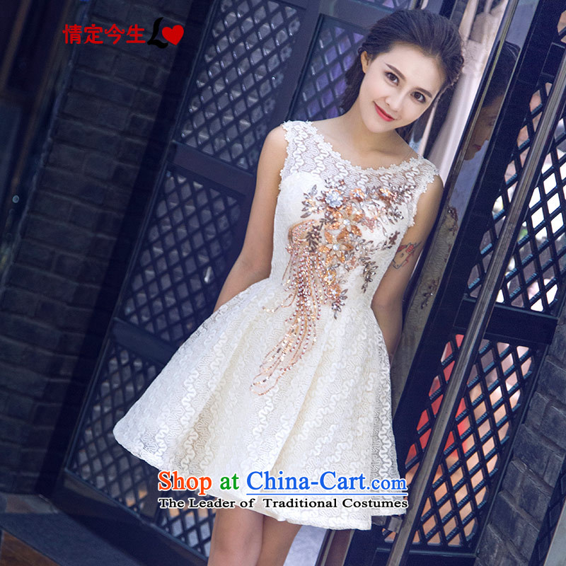 Love of the overcharged Korean 2015 Summer new word shoulder embroidered short, bon bon dresses bridesmaid Service Bridal bows service wedding dress champagne color�L