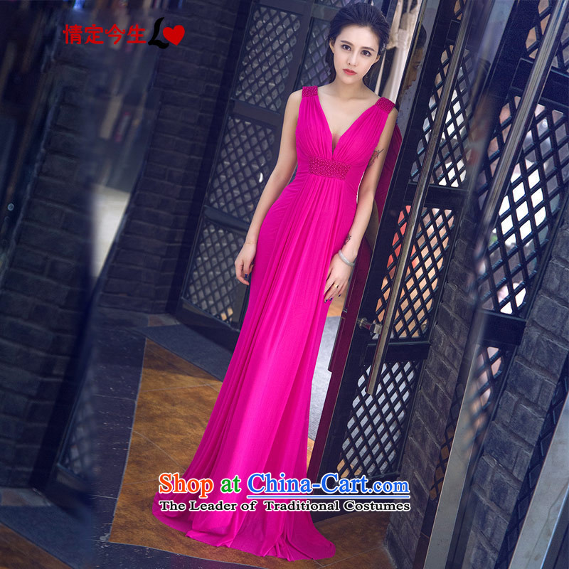 Love of the overcharged Korean deep V-neck in a new summer 2015 Field shoulder solid color dinner dress dresses marriages bows bridesmaid services by serving red�XL