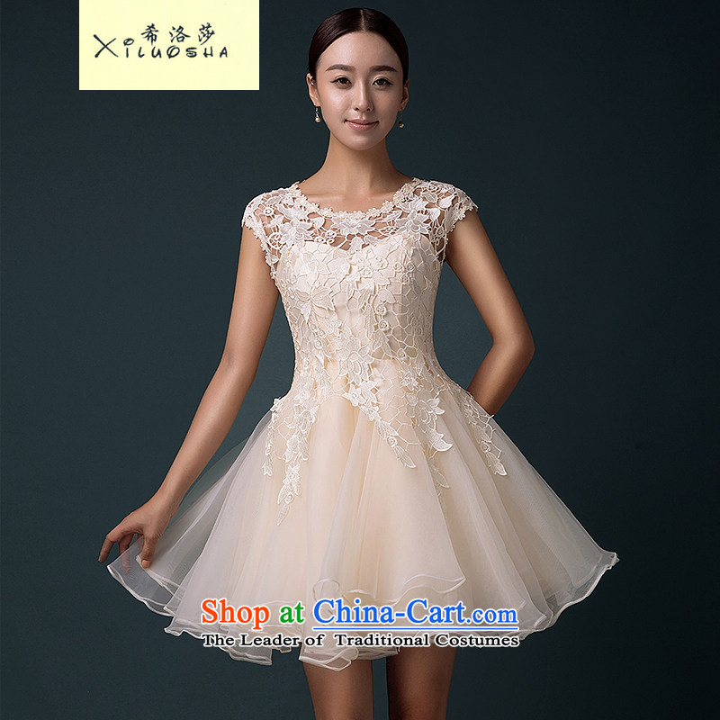 Hillo XILUOSHA_ Lisa _bride bows services evening dresses 2015 new summer short stylish wedding dress betrothal bridesmaid to skirt champagne color champagne color聽s
