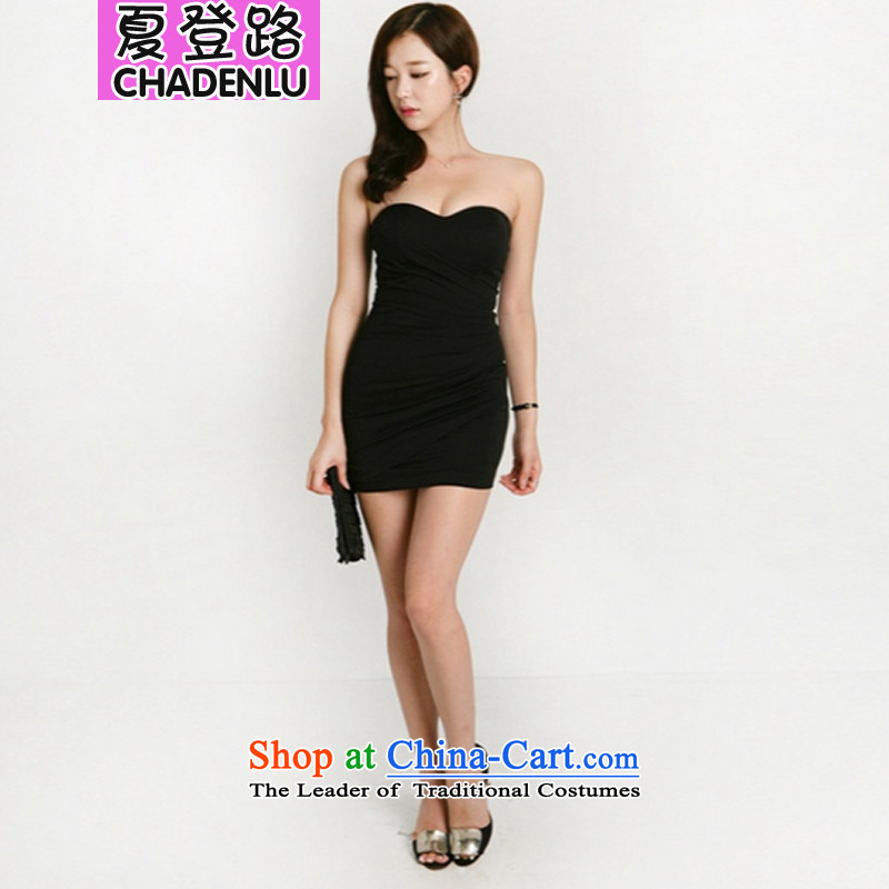 Summer 2015 Spring/Summer road sign the new Korean version of a thin video   Small forming the dress up chest dresses -8111 Athens Black�M
