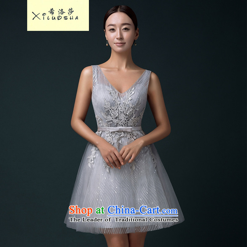 Hillo Lisa (XILUOSHA) banquet evening dresses 2015 new bride bows to the moderator Female dress summer short bridesmaid services) Silver Silver Gray�L