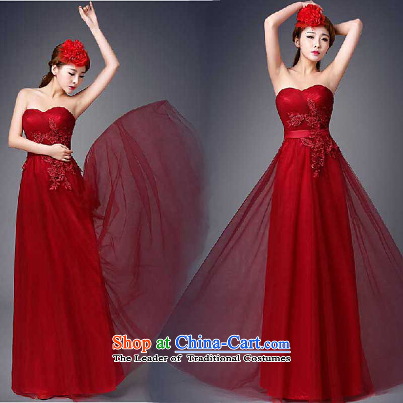 The new Korean fashion 2015 anointed chest Sau San evening dress bride wedding dress spring and summer tie bows serving long dark red?M