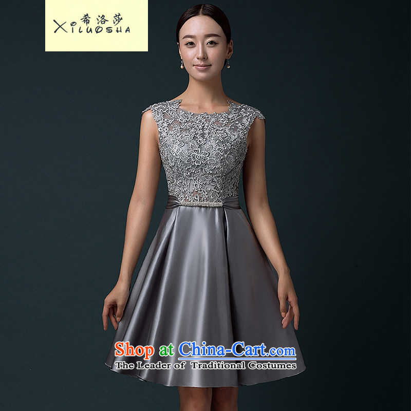 Hillo Lisa (XILUOSHA) banquet dress short skirt evening dress 2015 new summer short of evening drink service stylish lace small silver satin dress�XL