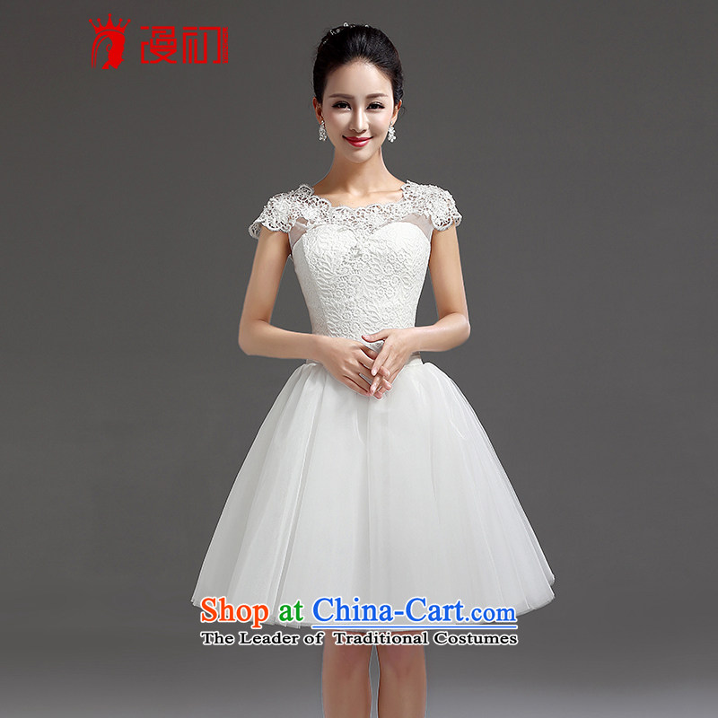 In the early 2015 new man bridesmaid short of small dress bride evening dress short, lace straps princess skirt white?L