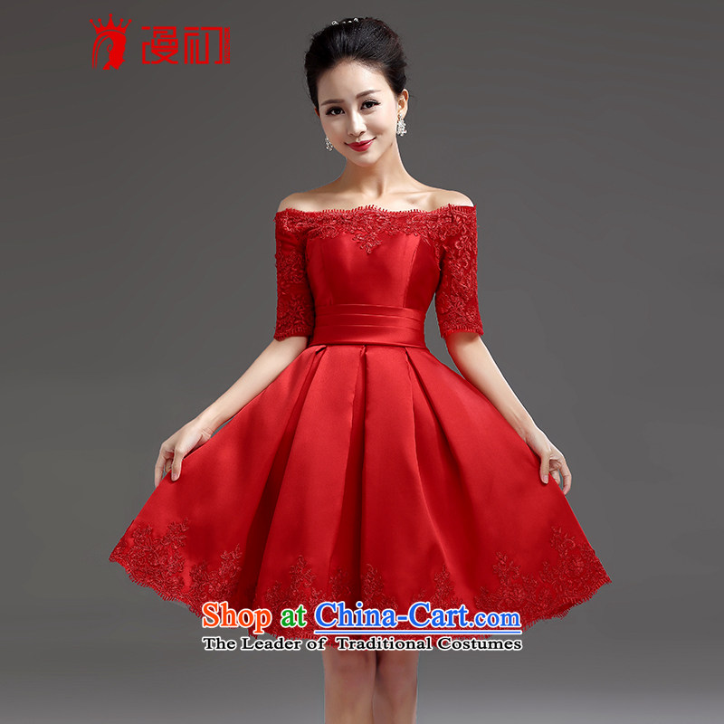 In the early 2015 new man bridesmaid short of small dress skirt a bride bows field shoulder straps lace princess skirt red?S
