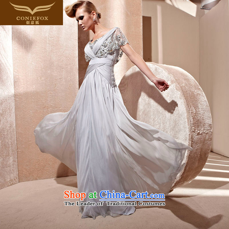 Creative Fox evening dresses?2015 new sexy package shoulder evening dresses Gray Graphics thin bows service banquet evening dress code dress 81009 Large skirt light gray?S
