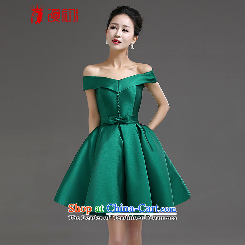 In the early?2015 new definition of the word shoulder bride wedding dress uniform high short of bows banquet dress bridesmaid dress dark green?M