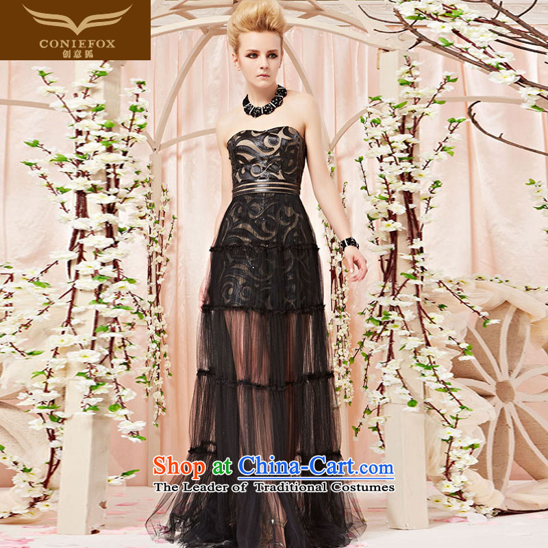 Creative Fox evening dresses?2015 new personality pattern and chest evening dresses banquet services under the auspices of the annual session of toasting champagne evening dress 30305 long picture color?L