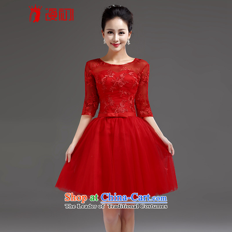 In the early?2015 new man lace in cuff bride wedding dress bows services banquet short, Red Dress red tie?M