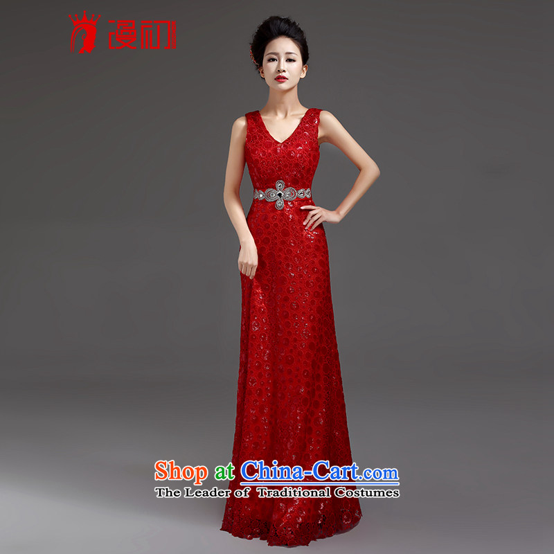 At the beginning of Castores Magi evening dress new luxury on 2015 chip elegant sexy deep V-Neck long to dress the moderator will red?L