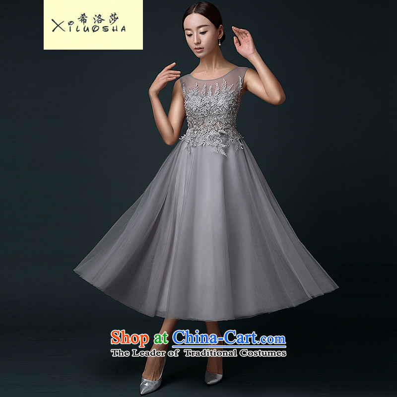 Hillo XILUOSHA) Lisa (summer evening dresses 2015 new long moderator dress dresses summer aristocratic banquet evening dress, stylish silver gray?XL