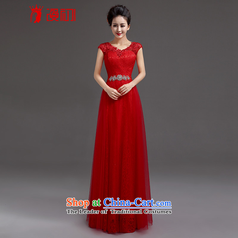 In the early 2015 new man wedding dresses red long marriages lace shoulders evening dresses bows services RED M