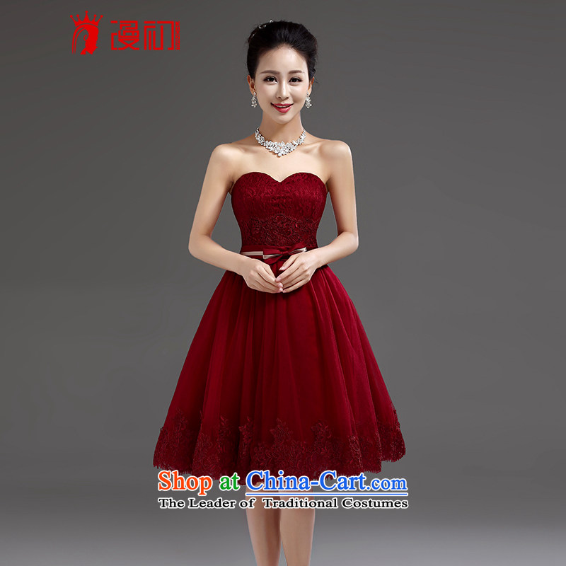 In the early 2015 new definition of small dress bride evening dresses marriage bridesmaid service, wine red lace bows serving wine red�S