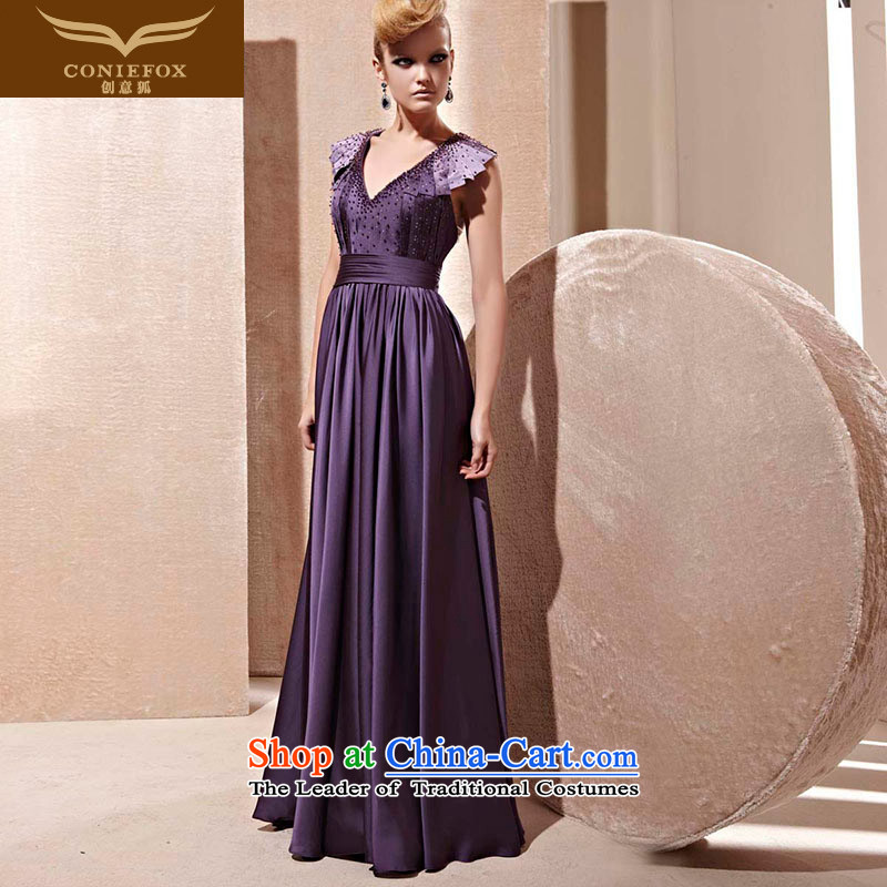 Creative Fox evening dresses?2015 new sexy deep V evening dresses purple long drink service noble banquet moderator dress?81255?color picture?XL