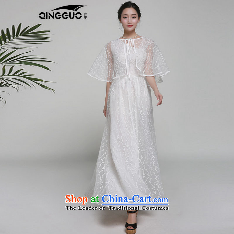 The West's 2015 Spring/Summer new dresses evening dresses dragging long skirt embroidered 7008 White�M